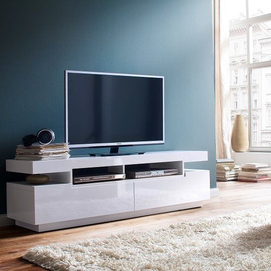Weston LCD TV Stand In White High Gloss With 2 Drawers
