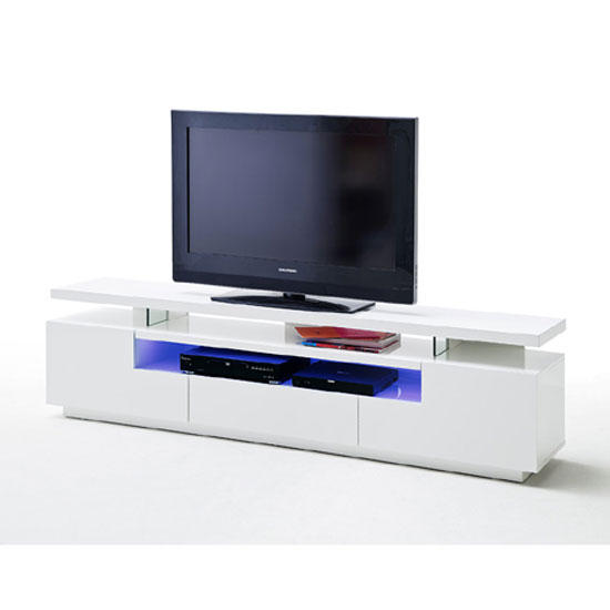 Avelin LCD TV Stand In White Gloss With 3 Drawers And LED Lights_3