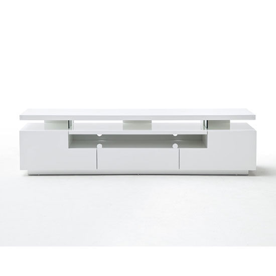 Avelin LCD TV Stand In White Gloss With 3 Drawers And LED Lights_5