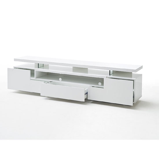 Avelin LCD TV Stand In White Gloss With 3 Drawers And LED Lights_8