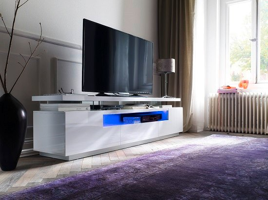 Avelin LCD TV Stand In White Gloss With 3 Drawers And LED Lights_9