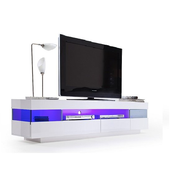Liven LCD TV Stand In White Gloss With 4 Drawers And LED Lights  High Gloss  -> Meuble Tv À Led Avec Baffle