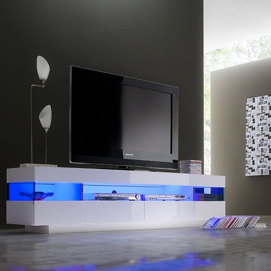 Liven LCD TV Stand In White Gloss With 4 Drawers And LED