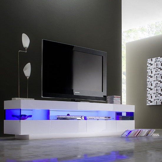 Liven LCD TV Stand In White Gloss With 4 Drawers And LED Lights
