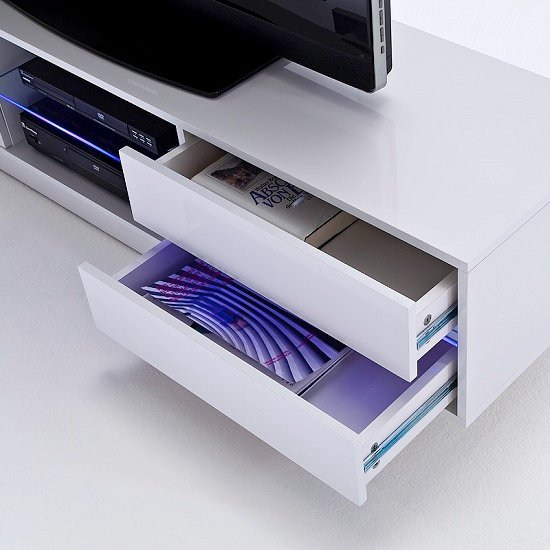 Sienna TV Stand Unit In High Gloss White With Multi Led Lights_6