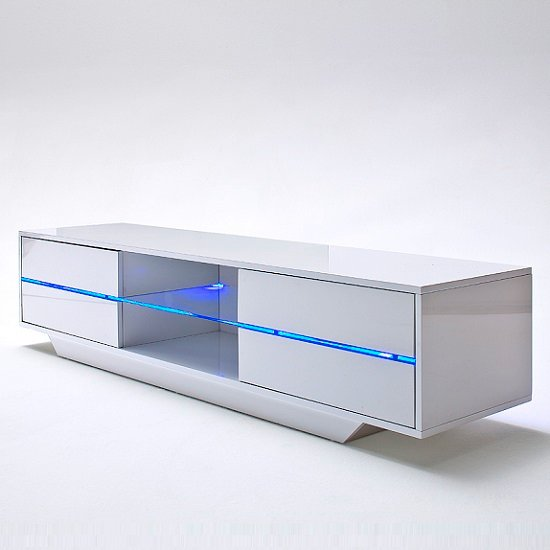 Sienna TV Stand Unit In High Gloss White With Multi Led Lights_7