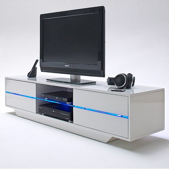 Sienna TV Stand Unit In High Gloss White With Multi Led Lights_2