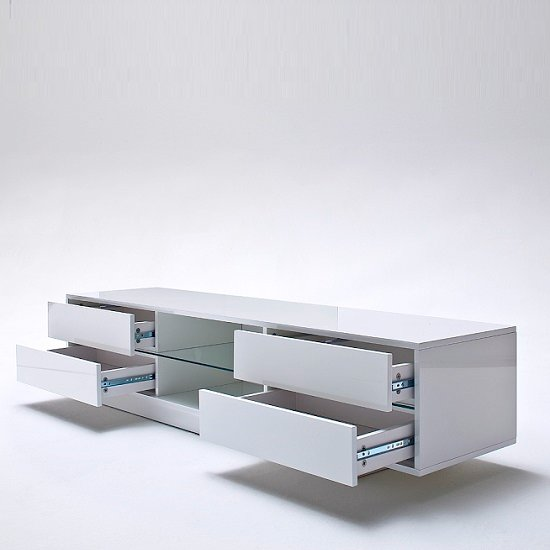 Sienna TV Stand Unit In High Gloss White With Multi Led Lights_5