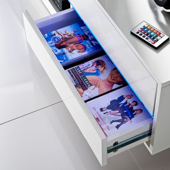 Sienna TV Stand Unit In High Gloss White With Multi Led Lights_12