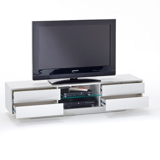 Sienna TV Stand Unit In High Gloss White With Multi Led Lights_4