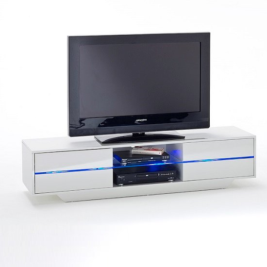 Sienna TV Stand Unit In High Gloss White With Multi Led Lights_3
