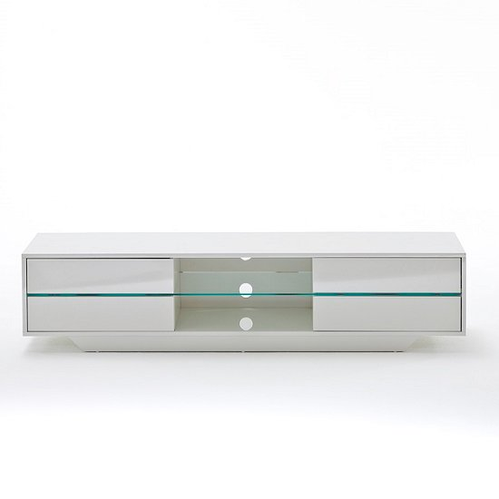 Sienna TV Stand Unit In High Gloss White With Multi Led Lights_9