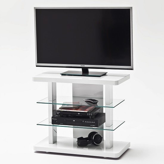 Menial LCD TV Stand In High Gloss White With Clear Glass Shelves_5