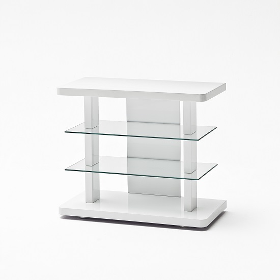 Menial LCD TV Stand In High Gloss White With Clear Glass Shelves_4