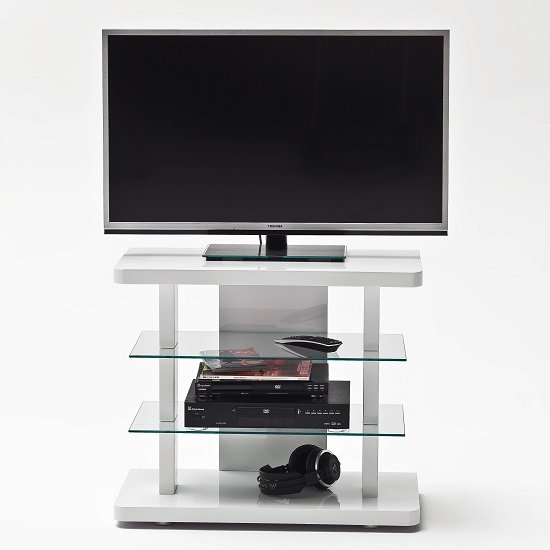Menial LCD TV Stand In High Gloss White With Clear Glass Shelves_3