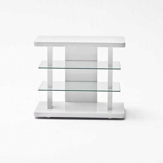 Menial LCD TV Stand In High Gloss White With Clear Glass Shelves_2