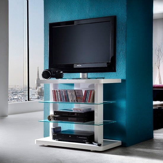 Menial LCD TV Stand In High Gloss White With Clear Glass Shelves