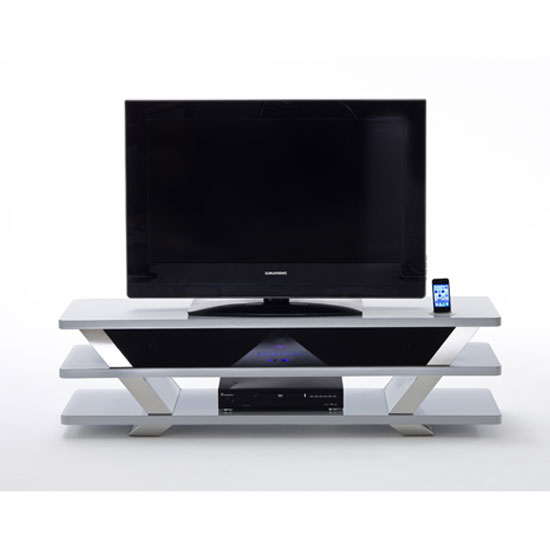 Chevron Lowboard TV Stand In White High Gloss With Chrome Trim