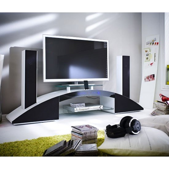arc lcd tv stand in white high gloss with sound system. Black Bedroom Furniture Sets. Home Design Ideas