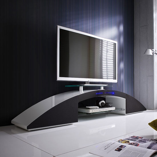 Sunset Lowboard TV Stand In White And Black High Gloss