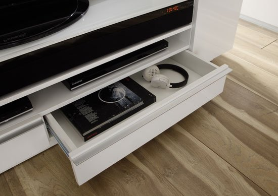 Canberra Contemporary TV Stand In White Glass Top And High Gloss_4