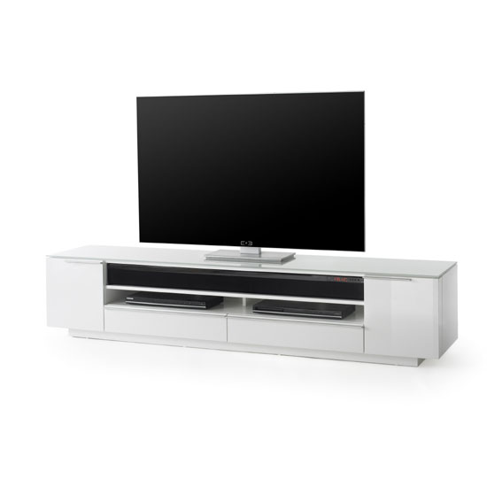 Canberra TV Stand In White Glass Top And High Gloss