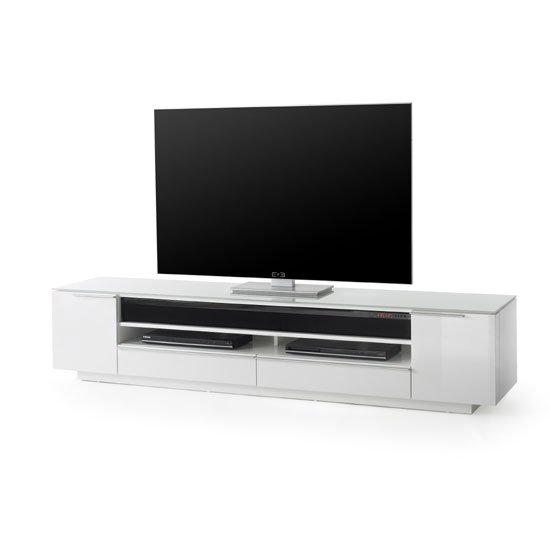 Canberra Contemporary TV Stand In White Glass Top And High Gloss_1