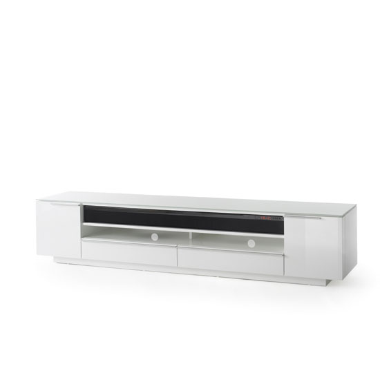 Canberra Contemporary TV Stand In White Glass Top And High Gloss_2