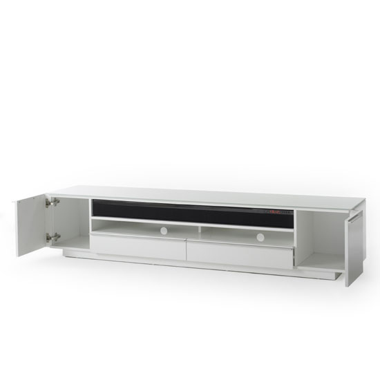 Canberra Contemporary TV Stand In White Glass Top And High Gloss_3
