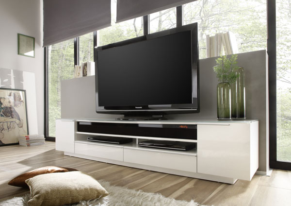Canberra Contemporary TV Stand In White Glass Top And High Gloss_6