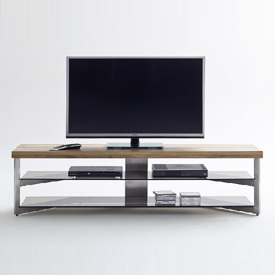 Marcos TV Stand In Solid Oak Top And Grey Glass_3