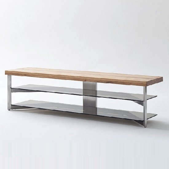 Marcos TV Stand In Solid Oak Top And Grey Glass_4