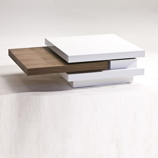 Attractive Basel Coffee Table With Rotatable Top In Walnut And Gloss White