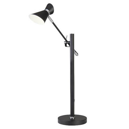 Diablo Chrome And White Matt Black Led Table Lamp