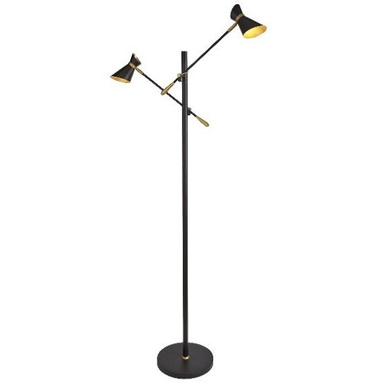 Diablo Two Adjustable Floor Lamp With Metallic Gold Trim