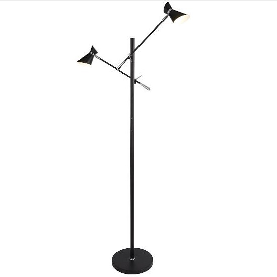 Diablo Two Led Adjustable Floor Lamp In Matt Black Finish_1