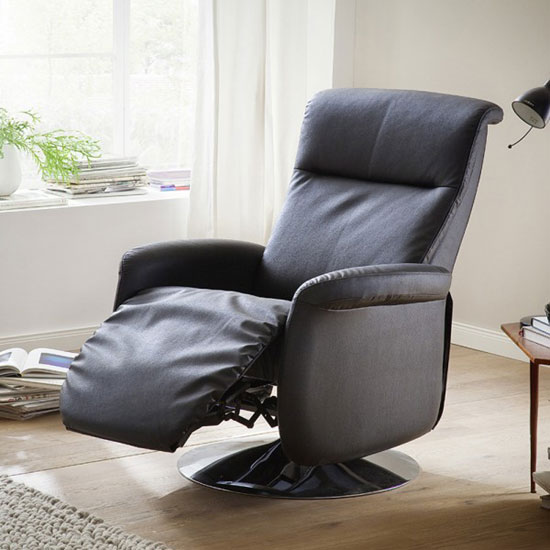 Almeida Rotating Reclining Chair In Black Leather And Metal Base_5