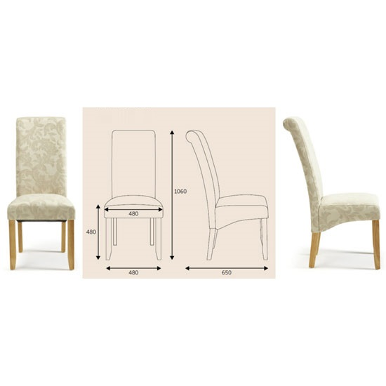 Ameera Dining Chair In Floral Cream Fabric And Oak in A Pair_6