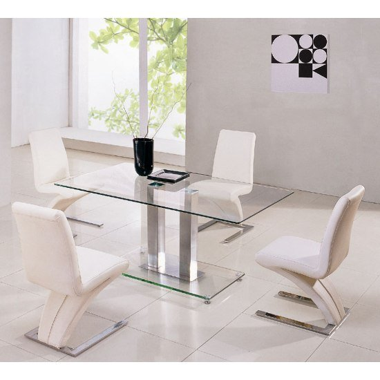 Jet Rectangle Glass Dining Set And 6 Z Dining Chairs