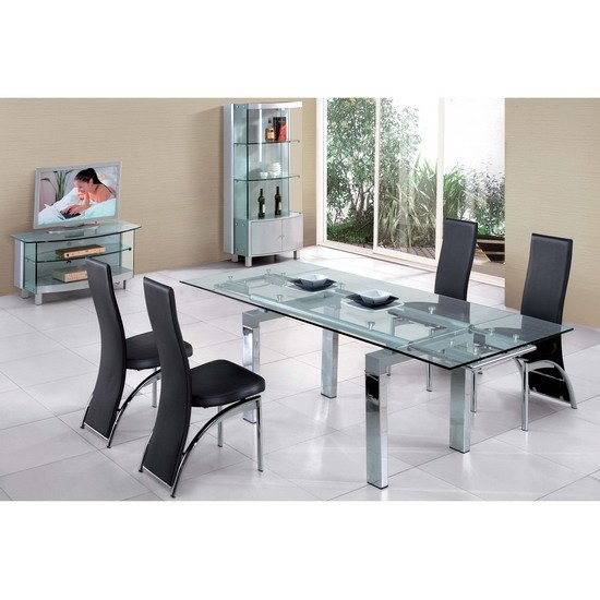 Jessi Glass Extendable Dining Table With 6 Chairs