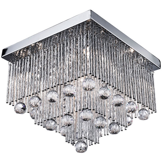 Beatrix 5 Lamp Chrome Ceiling Light With End Crystal Drops
