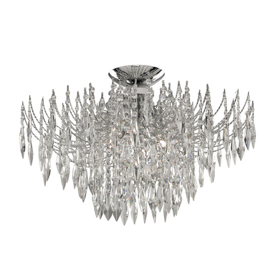 Waterfall Chrome Ceiling Light With Tiers Of Heptagon Crystals