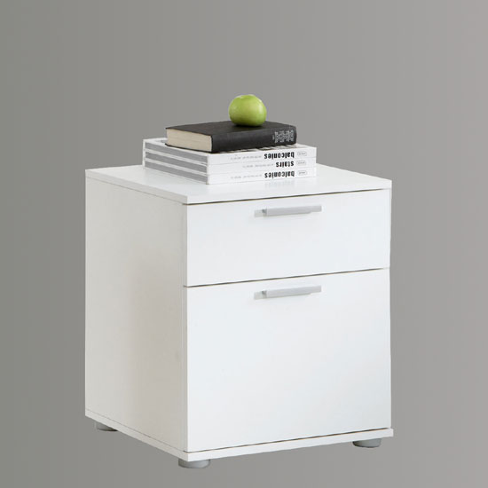 Jack 3 White Finish Wooden Bedside Cabinet With 2 Drawers