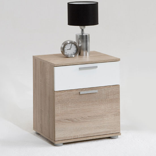 Jack 3 oak finish wooden bedside cabinet with 2 drawers for Furniture jack