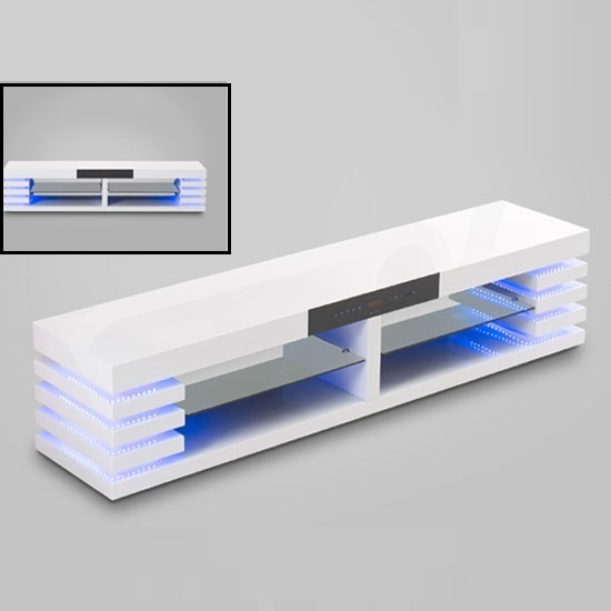 Memphis TV Stand In High Gloss White With LED Light And USB Port