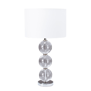 Glass Ball Table Lamp With Chrome Base And Coordinating Shades