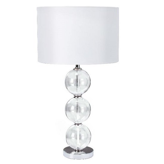 Chrome Table Lamp With Glass Balls And White Fabric Shade