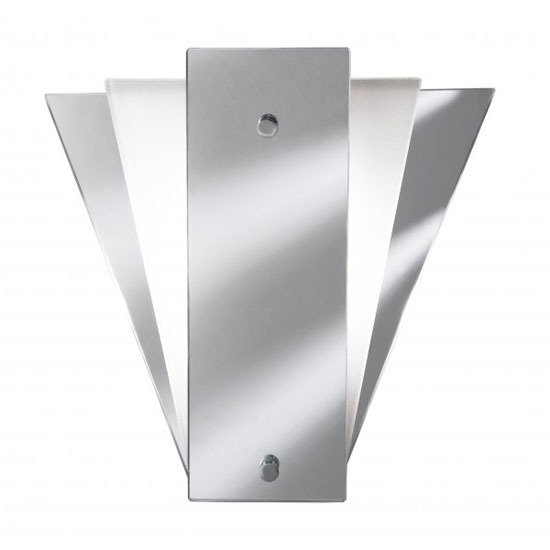 Photo of Deco fan style frost mirror wall lamp with glass panel