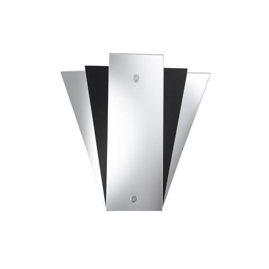 Deco Fan Style Mirror Wall Lamp With Black Glass Panel
