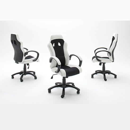 Loutaz Home Office Chair In Black And White Faux Leather_4